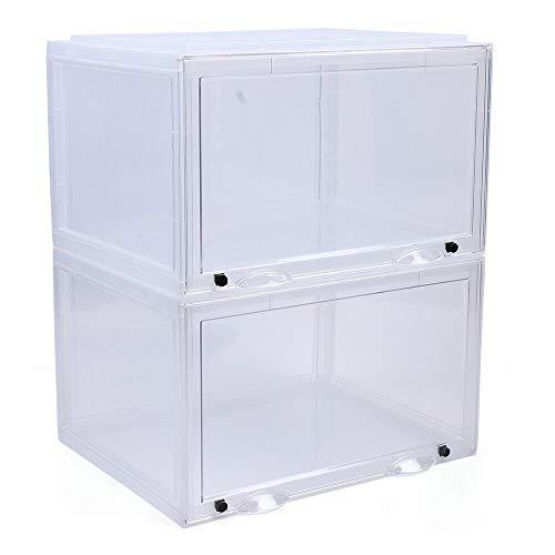 6 cajas para zapatos apilables, fáciles de montar, organizadores para zapatos, 36 x 28 x 22 cm, transparente con imán