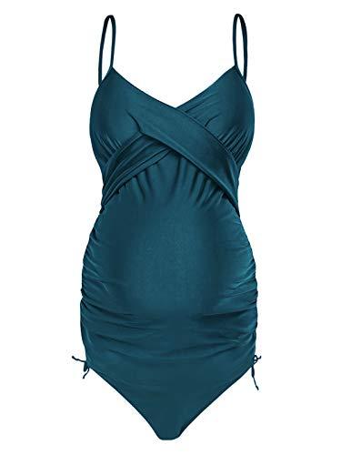 HenzWorld Traje de Baño Sólido de Dos Piezas para Mujer con Cuello Halter Fruncido Traje de Baño de Maternidad para Mujer Tankini Frontal con Envoltura de Ciruela Retro (Azul Talla S)