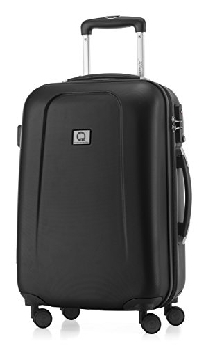 HAUPTSTADTKOFFER - Wedding - Handgepäck Koffer Kabinen Hartschalen-Koffer Trolley Rollkoffer Reisekoffer, TSA, Doppelrollen 55 cm, 42 Liter, Schwarz