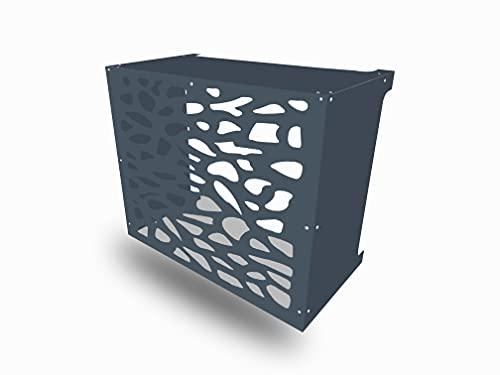 Cover Clim Antracite, resistente climatizzatore copertura, a parete, in alluminio composito (motivo pietre, grande antracite)