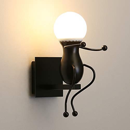 AUA Aplique de Pared, Lámpara de Pared Interior, Humanoid Creativa, Lámpara Negra E27 para Dormitorio, Salón, Habitación Infantil (A)