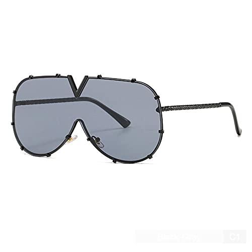 Gafas De Sol De Moda De Gran Tamaño, Montura De Metal, Lentes Transparentes, Espejo Parasol Degradado C1 Negro-Gris