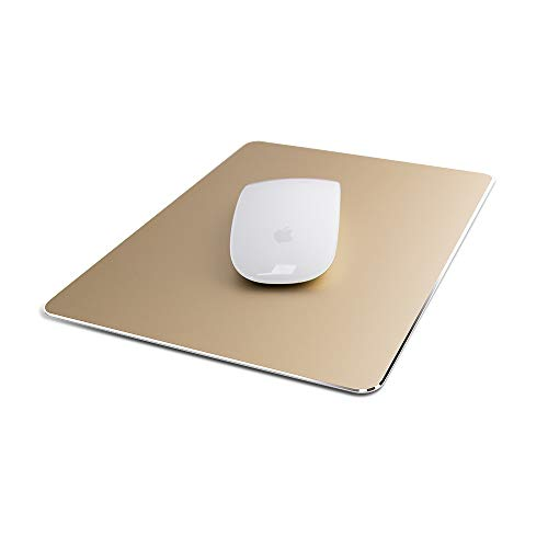 Metal Mouse Pad Ultra Thin Aluminum Mouse Mat Dual-Use Waterproof Fast and Accurate Control for Gaming and Office(Small Gold 9.05X7.08 inch)