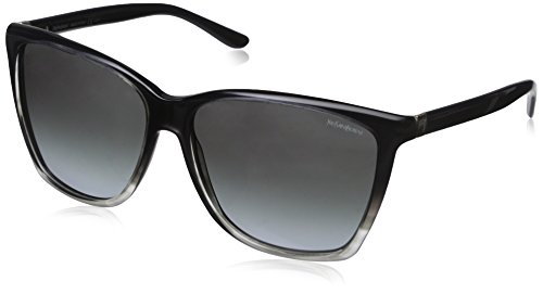 Yves Saint Laurent Women's 6347 zwart tot grijs frame/grijs verlooplens kunststof zonnebril