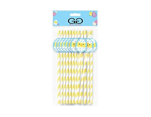 Schuldige Gadgets Pack van 20 - Pasen Papier Rietjes Kids Gift Strip Ontwerp Pasen Bunny Chick Character Bijgevoegd 19,4 cm Assoted Ontwerpen