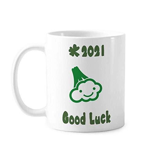 Plantaardige Expressie Gelukkig Bloemkool Lichaam Veel Luck 2021 Mok Aardewerk Keramische Koffie Porselein Cup Servies