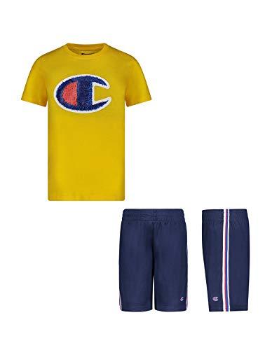 Champion Boys 2 Piece Photoreal Short Sleeve Tee Shirt and Mesh Short Set Kids Clothes (Team Gold/Navy, 3T)