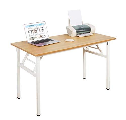 DlandHome Kleiner Klapptisch, 80 x 40 cm, keine Installation erforderlich, Heimbüro, Computertisch/Arbeitsplatz, Holzplatte, Teakholz und weiße Beine