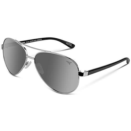 KastKing Kenai Polarized Aviator Style Sunglasses for Men and Women, Silver Frame with Gloss Black Temple, Smoke Base Silver Mirror