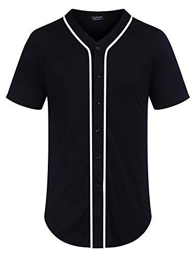 COOFANDY Men's Baseball Team Jersey Button Down Shirt Short Sleeve Top Navy Blue