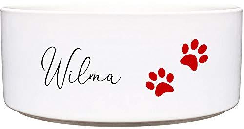Cadouri Keramik Hundenapf ︎ personalisiert ︎ mit Name deines Hundes┊Futternapf Wassernapf (rote Pfoten) - 1.300 ml