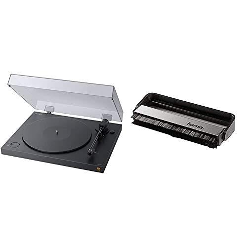 Sony PS-HX500 Plattenspieler (High-Resolution-Audio-Ripping-Funktion, Aufnahme Double-DSD Format, USB, A/D Wandler) Schwarz & Hama Carbon-Faserbürste für Langspielplatten, schwarz/Silber