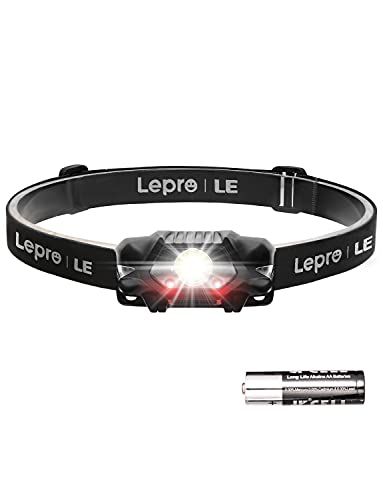 Lepro LED Headlamp, 4 Lighting Modes, Comfortable Head Torch for Adults and Kids, Lightweight Headlight for Outdoor Camping, Running, Hiking, Reading and More, AA Battery Included