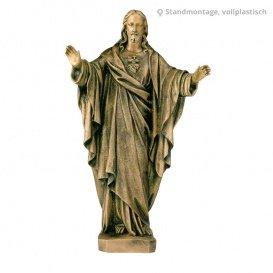 Segnender Christus Bronzefigur - Herz Jesu Segnend