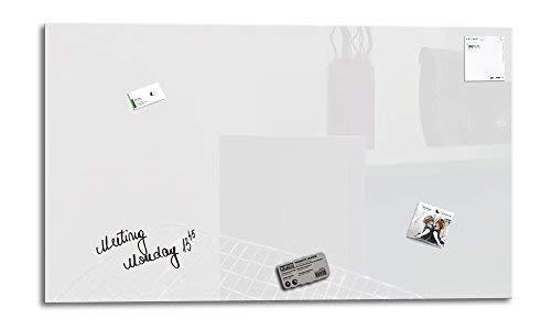 Smart Glass Board ® Pizarra de cristal magnética/Tablero de notas magnético en vidrio + 3 Imanes SuperDym + 1 Marcador, 90 x 45 cm, Blanco