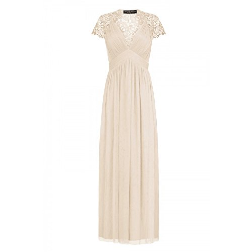 Little Mistress Womens/Ladies Embellished Cap Sleeve Maxi Dress (10 US) (Nude)