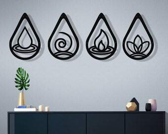 NOT BRANDED Metal Wall Art Four Elements Metal Wall Decor Home Living Room Decoration Four Elements Symbol Earth Water Air Fire
