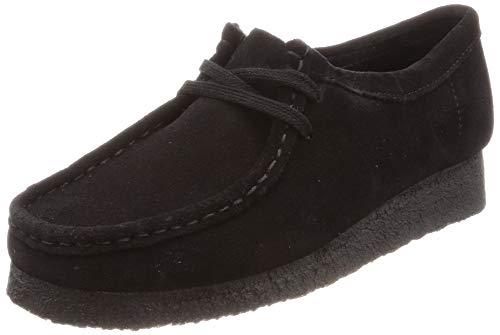 Clarks Wallabee, Zapatos de Cordones Brogue para Mujer, Negro (Black Suede-), 37 EU