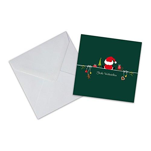 10er Pack Geschenkkarten mit Umschlag Frohe Weihnachten Weihnachtsmann Weihnachtskarte Geschenkanhänger Anhänger Klappkarte