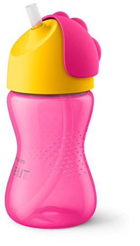Philips Avent SCF798/02 - Vaso con pajita flexible, 300 ml, 12 m+, válvula antigoteo, piezas compatibles Philips Avent, niña, color rosa