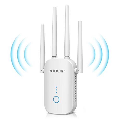 JOOWIN WLAN Verstärker, 4 Antennen 1200Mbit/s WLAN Repeater Dualband Signalverstärker Repeater/Router/AP Modus WiFi Range Extender kompatibel zu Allen WLAN Geräten