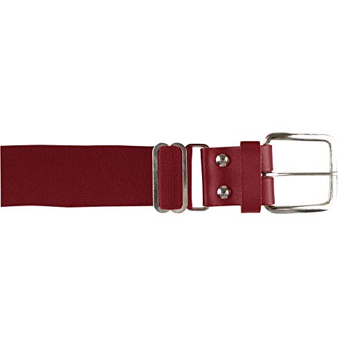 Champro Elastic Baseball Belt with 1.5-Inch Leather Tab (Cardinal, 28-52-Inch)