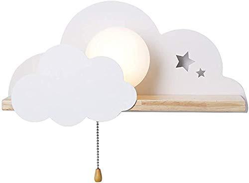 Cloud vorm wandlamp houten kinderen met een pull-schakelaar LED-bed lamp muur licht Contemporary leeslamp naast het bed 's nachts licht Decoratieve wand verlichting,White
