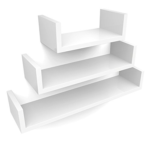 SONGMICS Set de 3 Estantes de Pared, Estantes Flotantes, 30/45/60 cm, Acabado Brillante, Decorativos, Creativos, para Habitación, Salón, Cocina, Pasillo, Capacidad de Carga de 15 kg, Blanco LWS66W