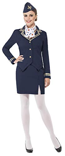 Smiffys womens Airways Attendant Costume, Blue, M - US Size 10-12