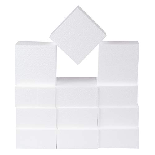 Silverlake Craft Foam Block - 12 Pack of 4x4x2 inch - EPS Polystyrene Square Blocks for Crafting, Modeling, Art Projects and Floral Arrangements - Sculpting Blocks for DIY School and Kids Art Projects