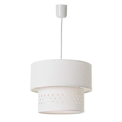 Lámpara de techo con tulipa doble contemporánea de algodón y PVC blanca, de ø 30x23 cm - LOLAhome