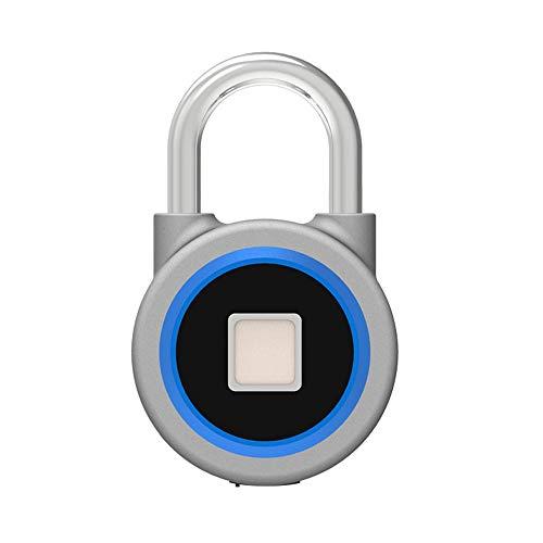 SMAA Bluetooth Impronte digitali Lucchetto, IP65 Impermeabile Anti-furto USB Ricaricabile, Senza Chiave biometrica Adatto a Scuola Locker/Palestra/Portello/armadietto/Valigia/Zaino,Blu