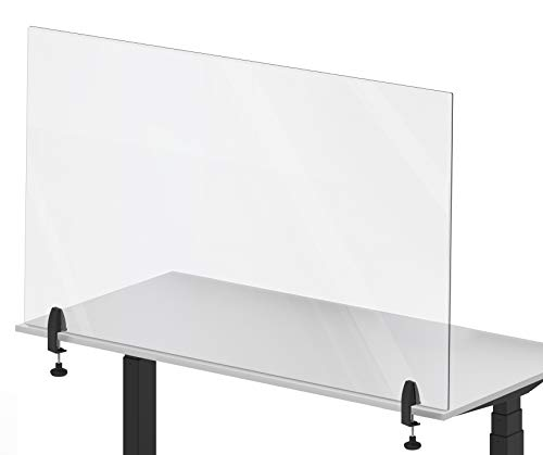 Stand Steady Clear Desktop Panel | Clamp On Protective Acrylic Shield & Sneeze Guard | Desk Divider Securely Attaches to Desks & Tabletops | For Offices, Schools, Libraries & More (48 x 30)