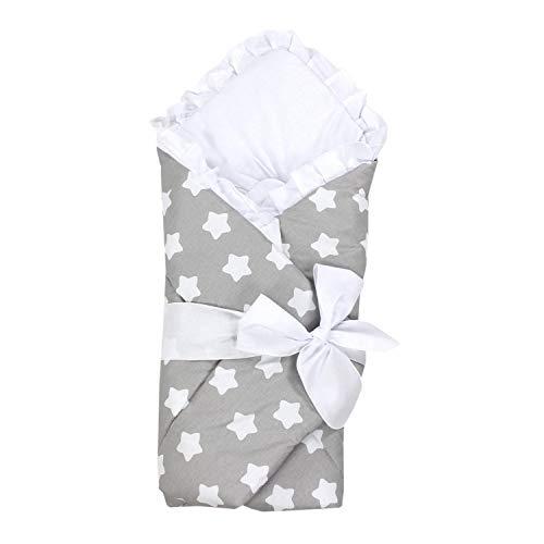 TupTam Unisex Baby Einschlagdecke mit Schleife, Farbe: Sterne Grau, Größe: 70 x 70 cm