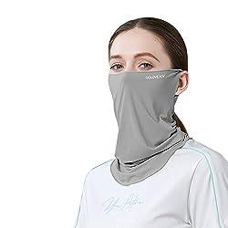触冷感 ひんやり 夏用 フェイスカバー レディース UVカット UPF50+ 洗える UVマスク バフ 水着マスク ネックガード ネックカバー フェイスガード フェイスマスク アウトドア ランニング (ダークグレー)