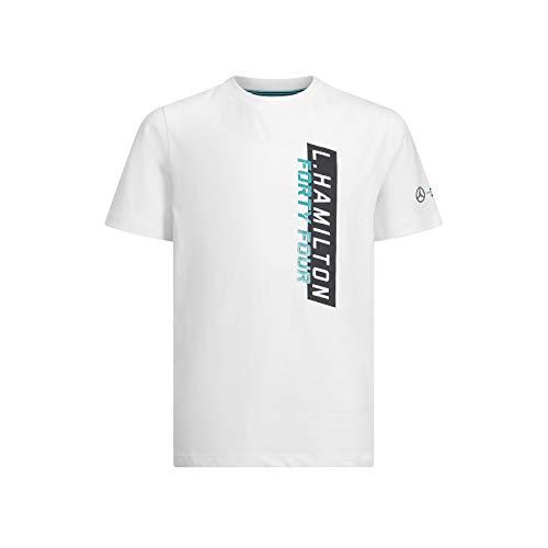 Mercedes AMG Petronas Motorsport Kinder T-Shirt Lewis Hamilton #44 Weiß Gr. 3-4 Jahre, weiß