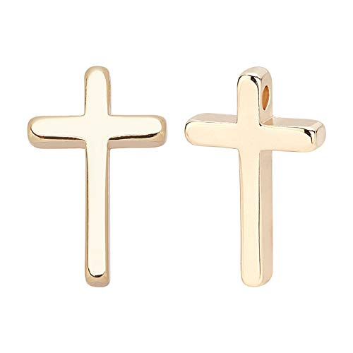 BENECREAT 20pcs Gold Brass Cross Charms 18K Gold Plated Pendants(13x8.5x2.5mm) Necklace Earrings Jewellery Gift for Women Teens Girls