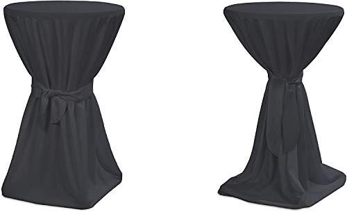 TexDeko Stehtischhussen Premium für Bar- & Bistrotisch Bezug waschbar und wiederverwendbar (Ø 90cm, Anthrazit)