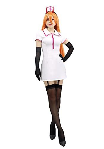 DAZCOS US Size Chainsaw Man Power Cosplay Costume Nurse Uniform Dress with Nurse Hat Socks and Gloves (Medium)