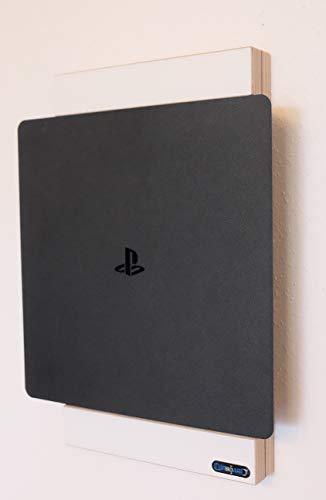 Clipboart Wandhalterung für PS4 SLIM - weiß Halterung Wandmontage Wandhalter Halter Holz