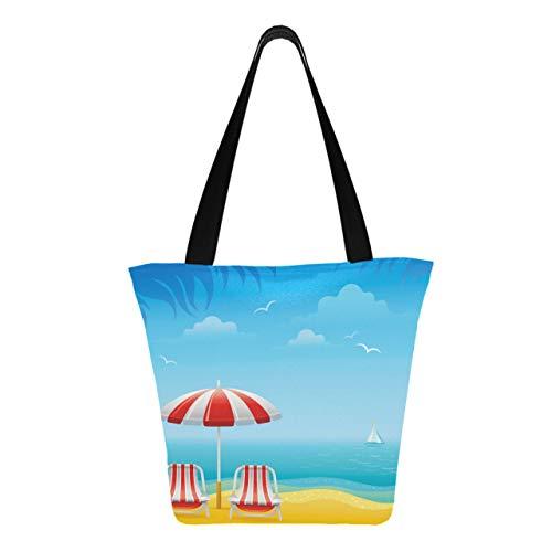 Islands Small Beach Ocean 11 × 7 × 13 pollici lavabile in lavatrice robuste borse in poliestere per le donne pieghevoli riutilizzabili borse da donna per lo shopping