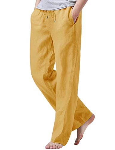 iWoo Men's Summer Pant Elastic Waist Casual Linen Pants with Pockets Yellow M