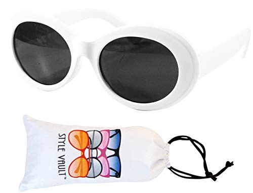 Kd3019 Baby infant Toddlers Age 0~18 months old Oval round hiphop Sunglasses glasses (White,uv400)