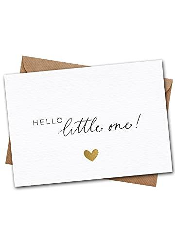 JoliCoon Karte zur Geburt - Hello little one - A6 mit Naturkuvert - Karte Geburt