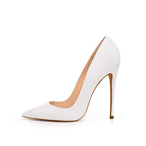 Elisabet Tang Women Pumps, Pointed Toe High Heel 4.7 inch/12cm Pointed Toe Heels for Women Matte White 7