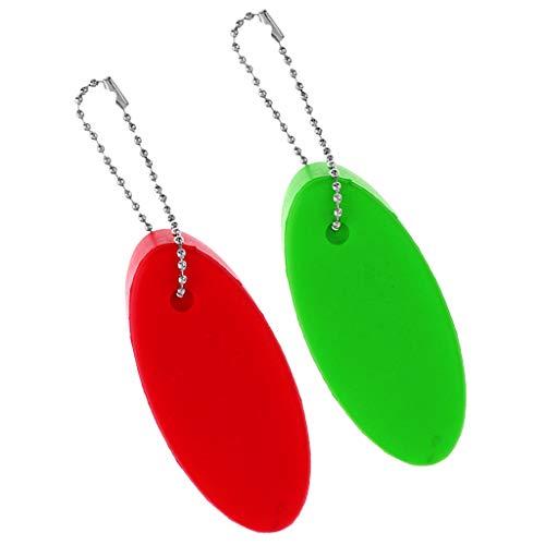 B Baosity 2 Unidades de Llavero Flotante Ovalado Verde + Rojo, Llavero Flotador Boya para Juegos Acuáticos Natación