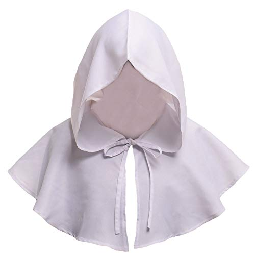 BESUFY Halloween Cosplay Makeup,Realistic Scary Halloween Decorations Halloween Unisex Medieval Hooded Short Shawl Cosplay Costume Party Witch Hat - White