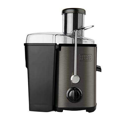 Black+Decker BXJE600E - Licuadora de 600 W para verduras y frutas, extractor de zumo en acero inoxidable, boca 62 mm, 2 velocidades, 2 depósitos para pulpa y zumo