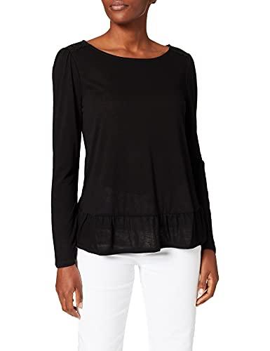 Springfield Camiseta Bajo Volante, Negro, S para Mujer