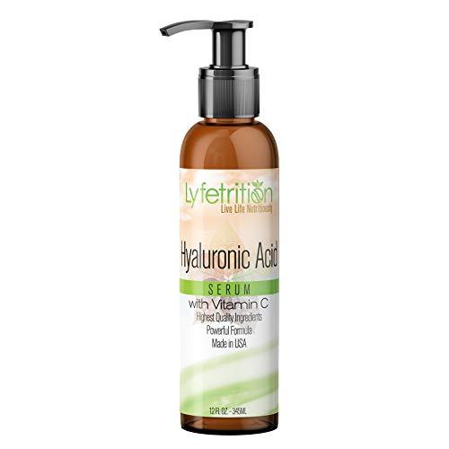 Lyfetrition – 12 oz large bottle - Hyaluronic Acid Serum with Vitamin C for Face – Deeply Moisturizing, Anti Aging, Vegan Collagen Boost, Hyaluronic Skin Serum – Nourishes Skin